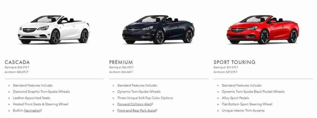 2019 buick cascada convertible trim levels